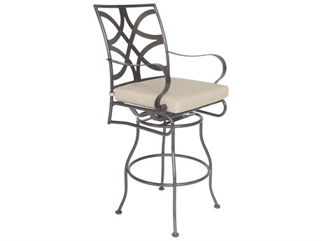 OW Lee Marquette Wrought Iron Swivel Bar Stool