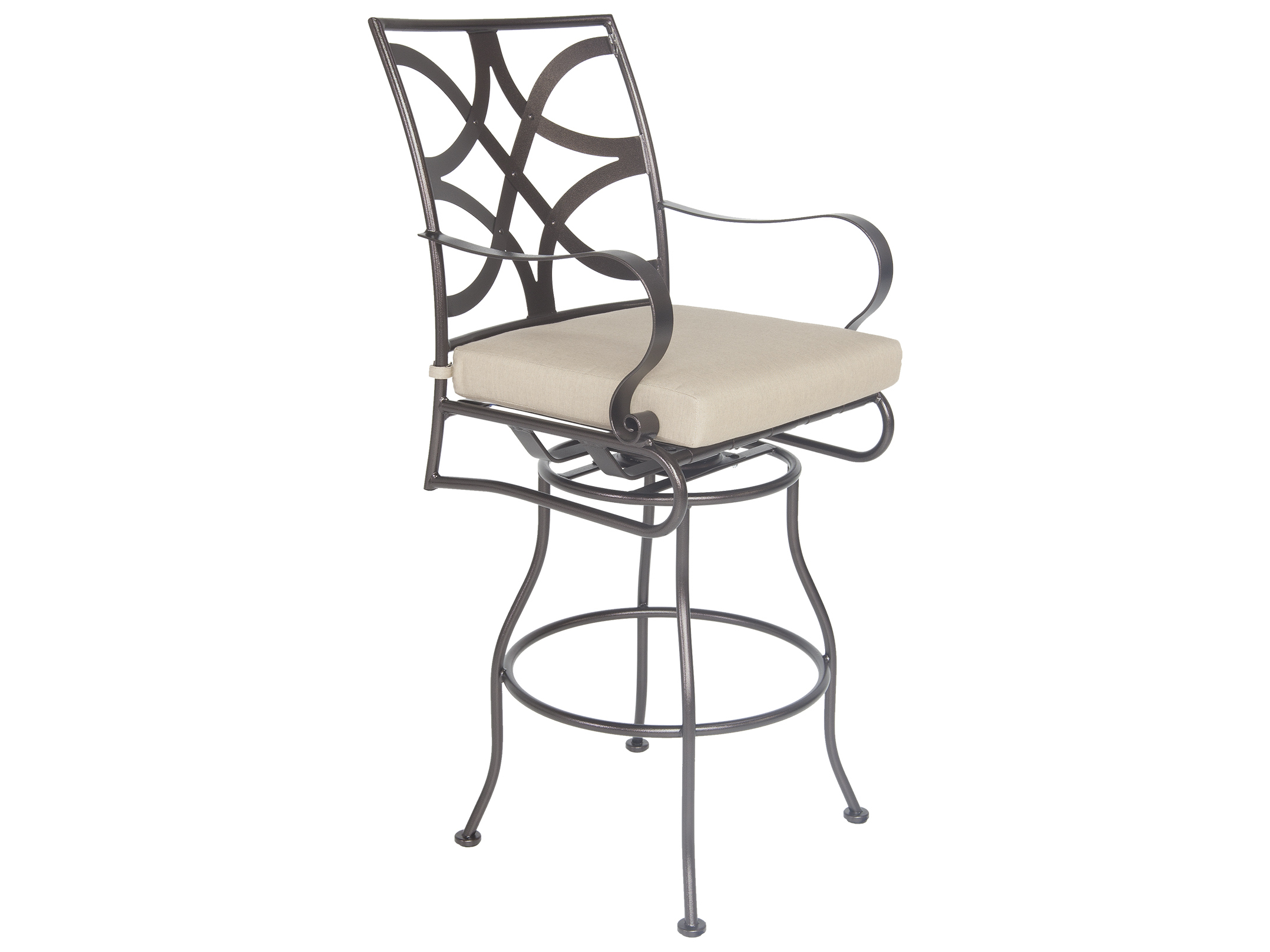Ow Lee Marquette Wrought Iron Swivel Bar Stool 2053 Sbs