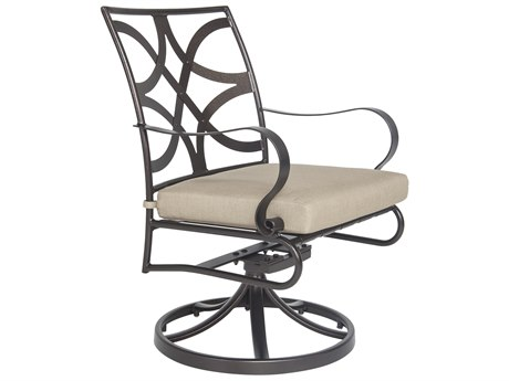 OW Lee Marquette Wrought Iron Swivel Rocker Dining Arm Chair