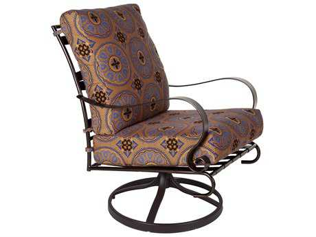 OW Lee Marquette Wrought Iron Swivel Rocker Club Chair