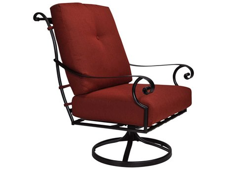 OW Lee St. Charles Wrought Iron Swivel Rocker Lounge Chair