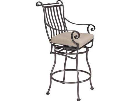 OW Lee St. Charles Wrought Iron Swivel Bar Stool With Arms