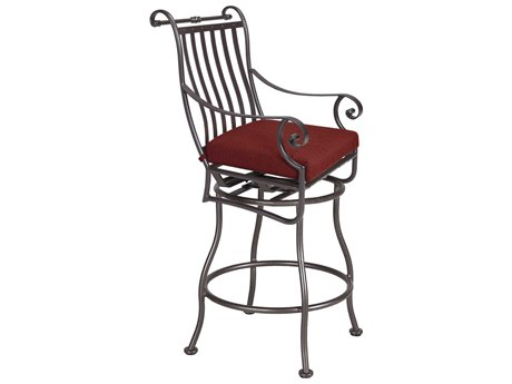 OW Lee St. Charles Wrought Iron Swivel Counter Stool With Arms