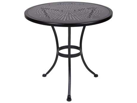 OW Lee Bistro Wrought Iron Stamped 30 Round Table with Umbrella Hole