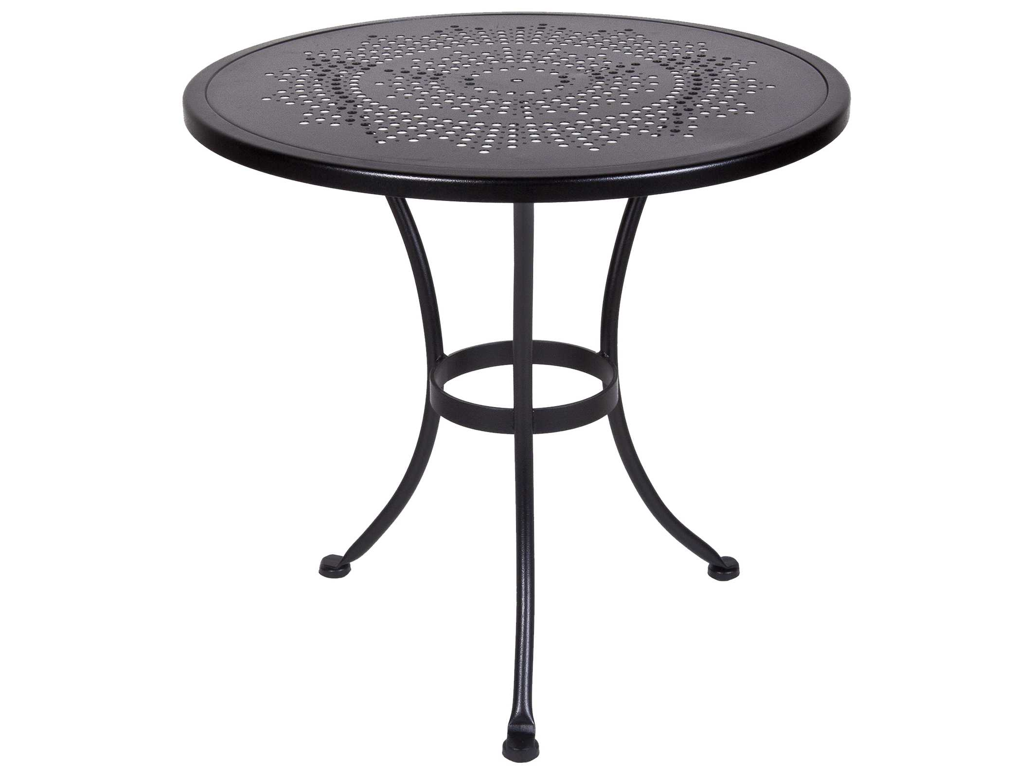 ow lee bistro wrought iron stamped 30 round table with umbrella hole ow30su. Black Bedroom Furniture Sets. Home Design Ideas