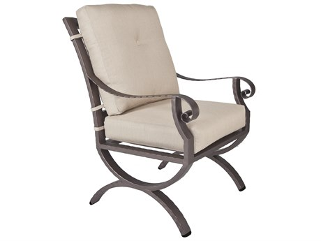 OW Lee Luna Wrought Iron Club Dining Arm Chair
