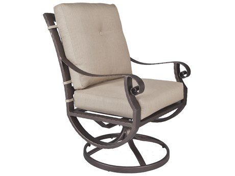 OW Lee Luna Wrought Iron Club Swivel Rocker Dining Arm Chair