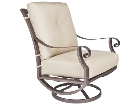 OW Lee Luna Wrought Iron Swivel Rocker Lounge Chair