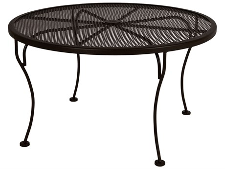 OW Lee Micro Mesh Wrought Iron 36 Round Side Table With Umbrella Hole