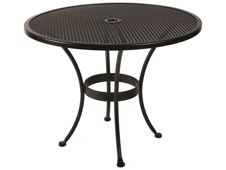 OW Lee Micro Mesh Wrought Iron 36'' Wide Round Dining Table with Umbrella Hole
