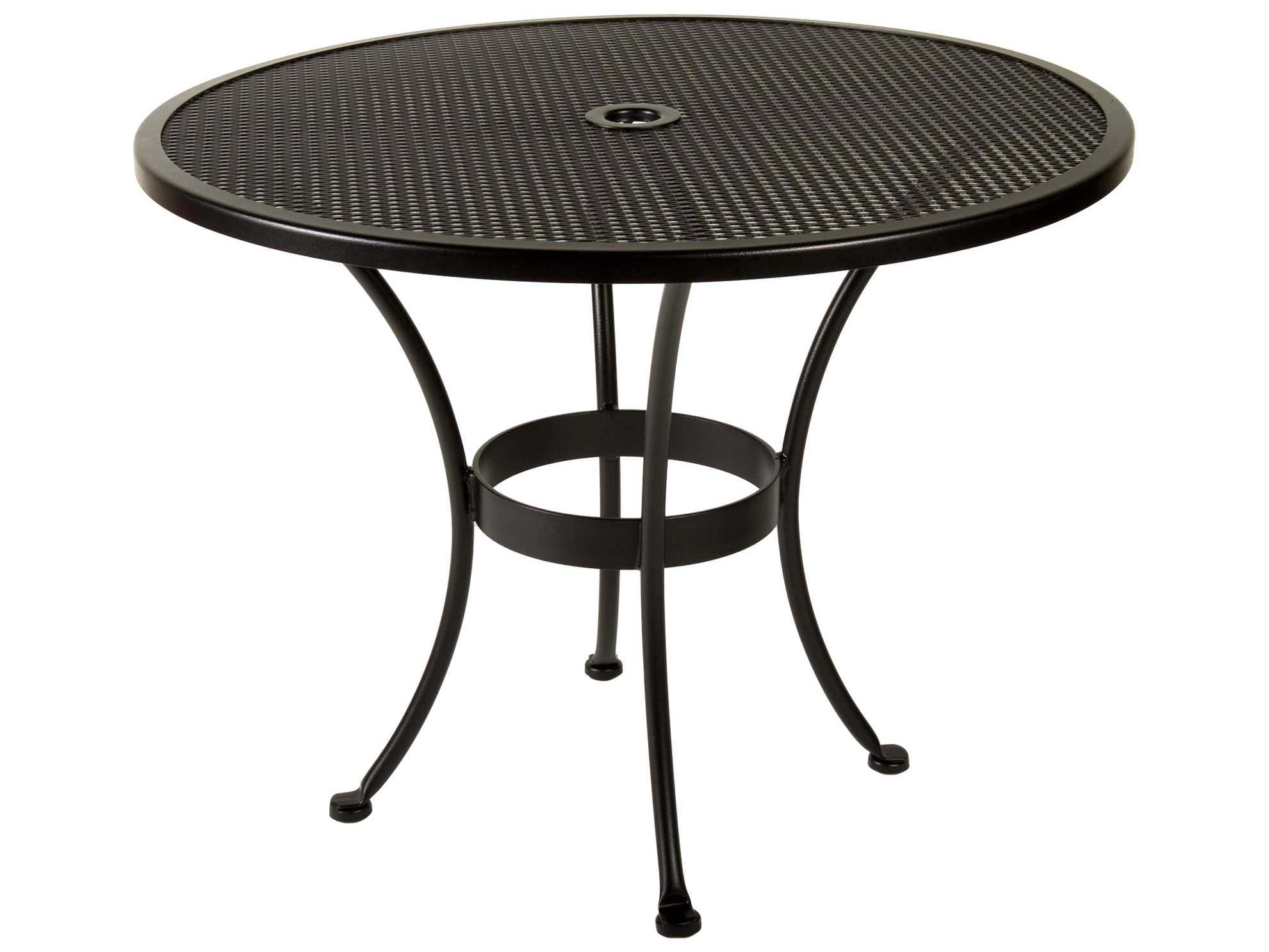 ow lee mesh wrought iron 36 round dining table with umbrella hole ow36mu. Black Bedroom Furniture Sets. Home Design Ideas