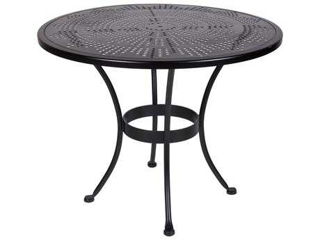 OW Lee Bistro Wrought Iron Stamped 36 Round Table with Umbrella Hole