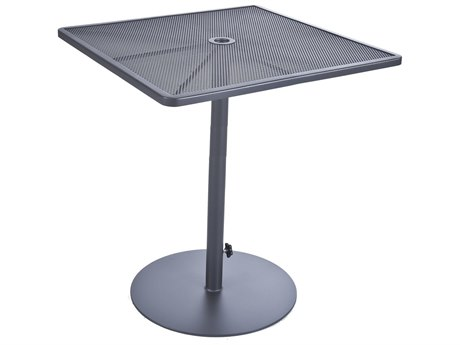 OW Lee Lennox Steel 34'' Wide Square Pedestal Bar Table