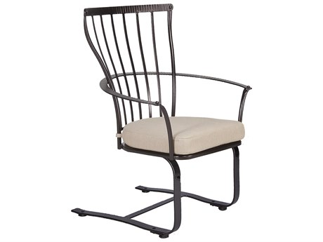 OW Lee Monterra Wrought Iron Spring Base Dining Arm Chair