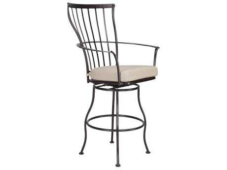 OW Lee Monterra Wrought Iron Swivel Bar Arm Stool