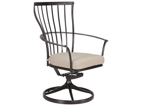 OW Lee Monterra Wrought Iron Swivel Rocker Dining Arm Chair