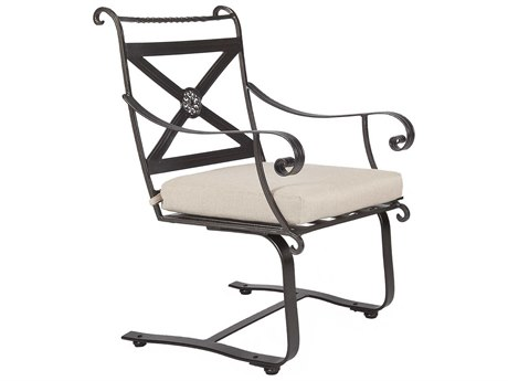 OW Lee Bellini Wrought Iron Spring Base Dining Arm Chair