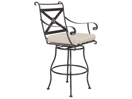 OW Lee Bellini Wrought Iron Swivel Bar Stool With Arms