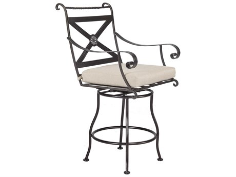 OW Lee Bellini Wrought Iron Swivel Counter Stool With Arms