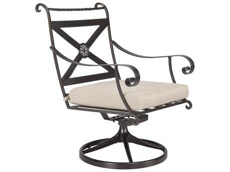 OW Lee Bellini Wrought Iron Swivel Rocker Dining Arm Chair