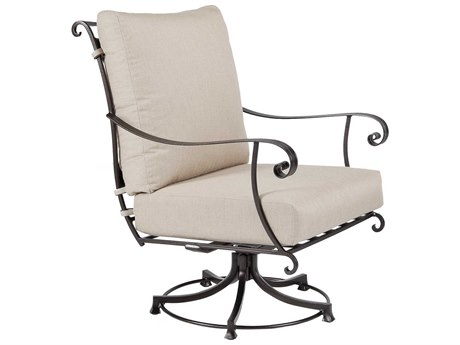 OW Lee Bellini Wrought Iron Swivel Rocker Lounge Chair