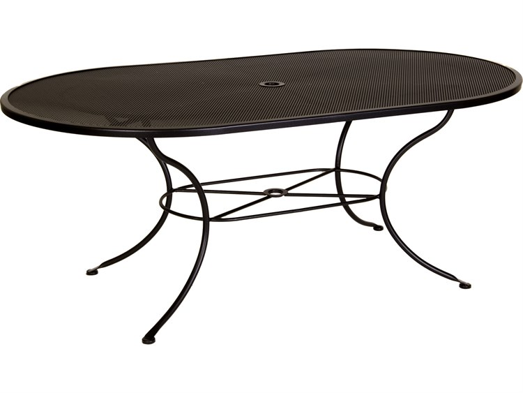 OW Lee Micro Mesh Wrought Iron X Oval Dining Table With - 72 oval dining table