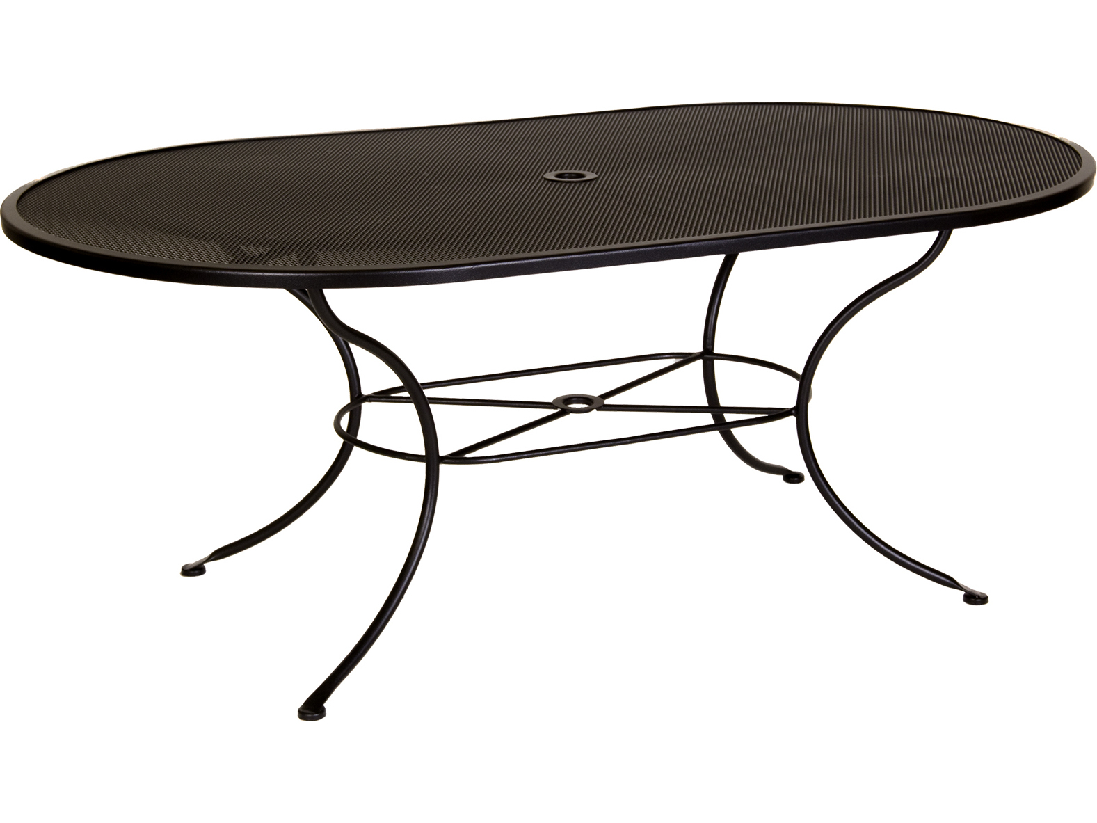 OW Lee Micro Mesh Wrought Iron 72 X 42 Oval Dining Table