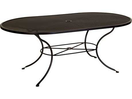 OW Lee Mesh Wrought Iron 72 x 42 Oval Dining Table with Umbrella Hole
