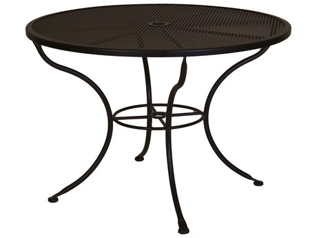 OW Lee Micro Mesh Wrought Iron 42 Round Dining Table with Umbrella Hole