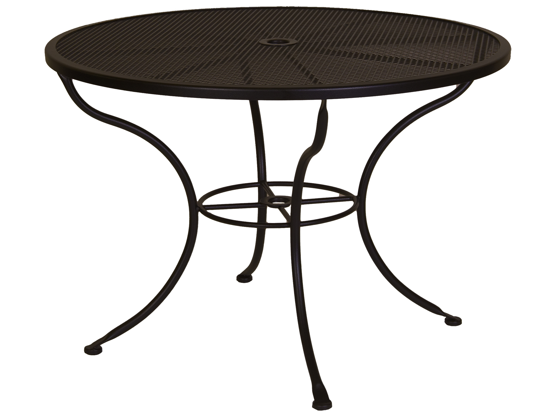 OW Lee Micro Mesh Wrought Iron 42 Round Dining Table With