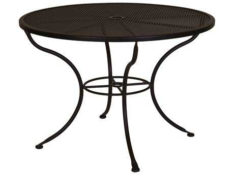 OW Lee Mesh Wrought Iron 42 Round Dining Table with Umbrella Hole