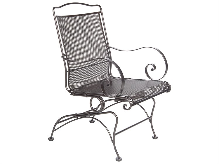 OW Lee Avalon Wrought Iron Coil Spring Dining Chair PatioLiving