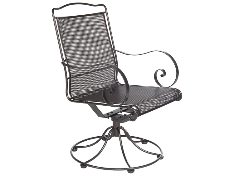 OW Lee Avalon Wrought Iron Swivel Rocker Dining Chair PatioLiving