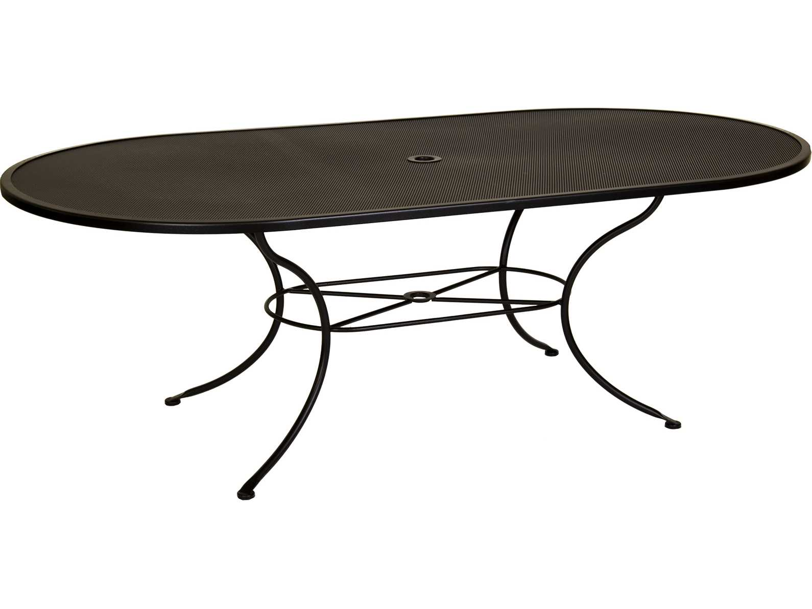 ow lee mesh wrought iron 84 x 44 oval dining table with umbrella hole ow4484ovmu. Black Bedroom Furniture Sets. Home Design Ideas