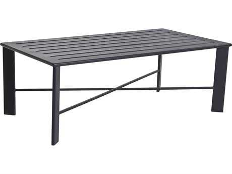 OW Lee Gios Aluminum 50 x 28 Rectangular Slatted Top Coffee Table