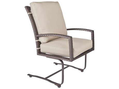 OW Lee Sol Wrought Iron Club Spring Base Dining Arm Chair