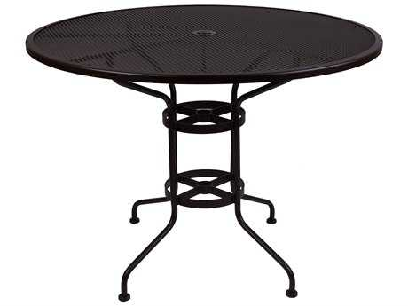 OW Lee Mesh Wrought Iron 48 Round Counter Table with Umbrella Hole