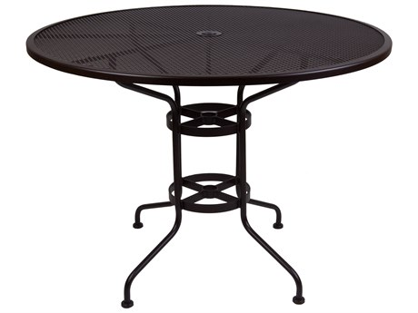 OW Lee Micro Mesh Wrought Iron 48 Round Bar Table with Umbrella Hole