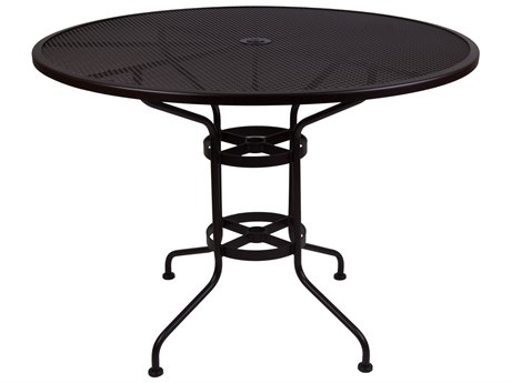 OW Lee Micro Mesh Wrought Iron 48 Round Counter Table with Umbrella Hole