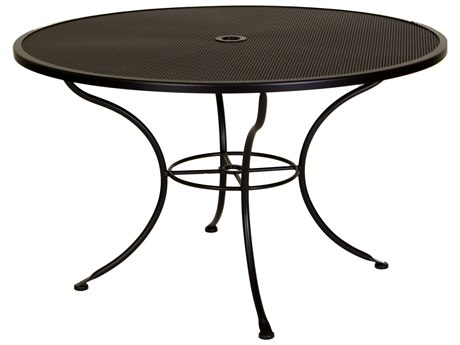 OW Lee Micro Mesh Wrought Iron 48 Round Dining Table with Umbrella Hole