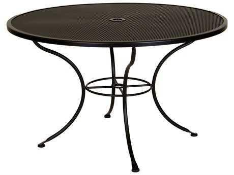 OW Lee Mesh Wrought Iron 48 Round Dining Table with Umbrella Hole