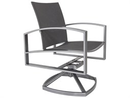 OW Lee Pacifica Wrought Iron Sling Swivel Rocker Dining Arm Chair
