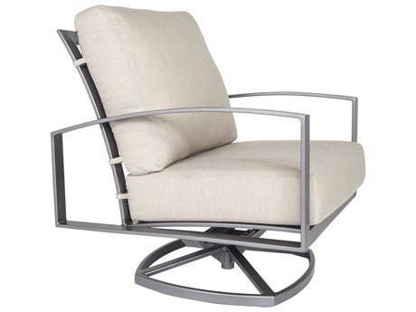 OW Lee Pacifica Wrought Iron Cushion Swivel Rocker Lounge Chair
