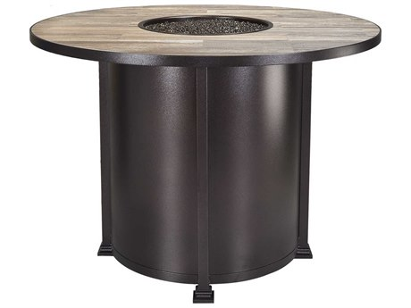 OW Lee Casual Fireside Santorini Wrought Iron 54 Round Counter Height Fire Pit Table