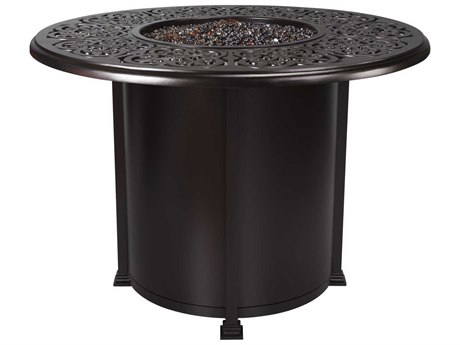 OW Lee Casual Fireside Hacienda Wrought Iron 54 Round Counter Height Fire Pit Table