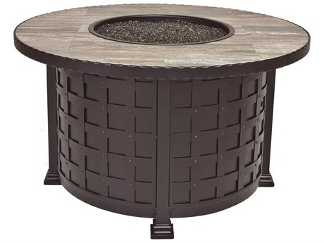 OW Lee Casual Fireside Classico Wrought Iron 42 Round Chat Height Fire Pit Table