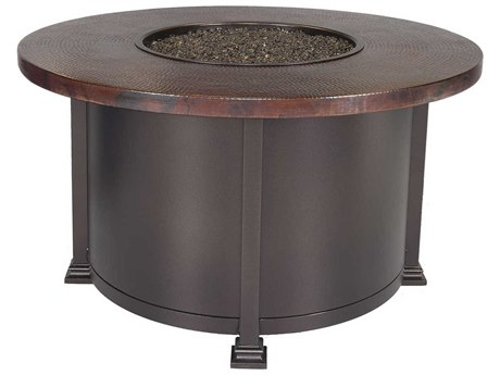 OW Lee Casual Fireside 42 Round Chat Height Hammered Copper Fire Pit