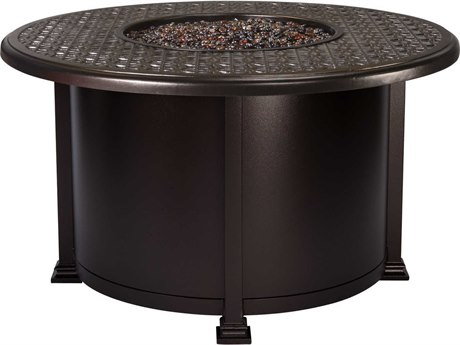 OW Lee Casual Fireside Richmond Wrought Iron 42 Round Chat Height Fire Pit Table
