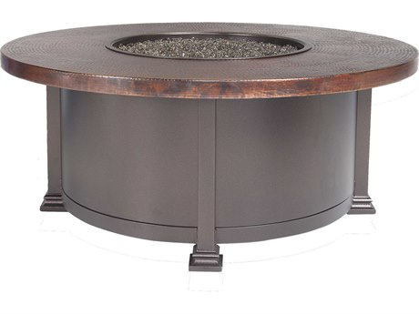OW Lee Casual Fireside 42 Round Occasional Height Hammered Copper Fire Pit