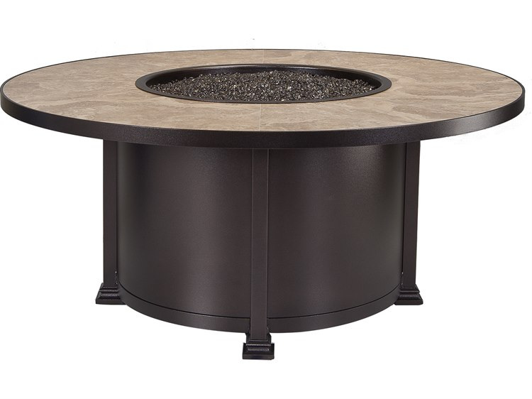 Superbe OW Lee Casual Fireside Santorini Wrought Iron 54 Round Chat Height Fire Pit  Table | 51 10A